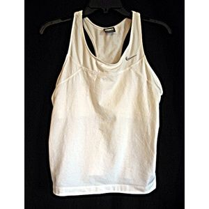 Nike White Crop Work Out Tank Top Mesh Trim L